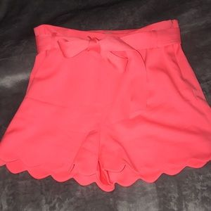 HOT PINK BELTED SHORTS